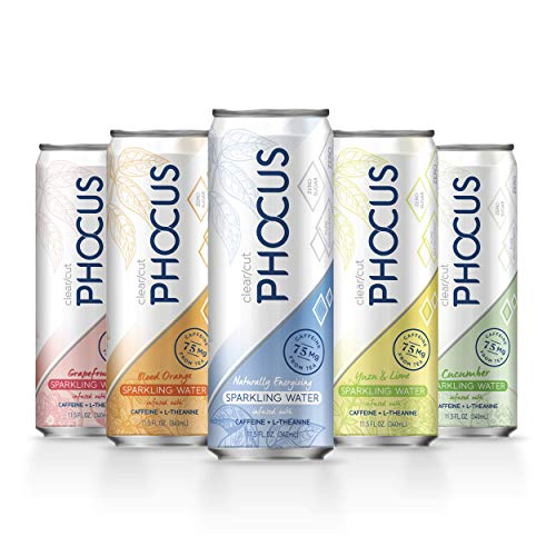 Phocus Caffeinated Sparkling Water, Variety Pack, 11.5 ounces, 12-Pack
