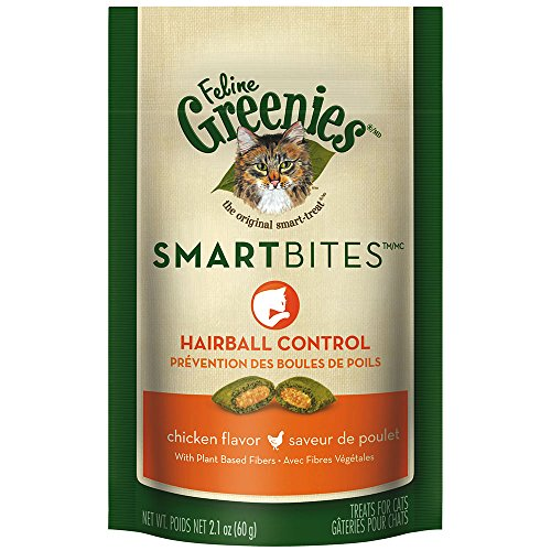 FELINE GREENIES SMARTBITES Hairball Control Cat Treats Chicken Flavor 2.1 oz. With Natural Ingredients Plus Vitamins, Minerals, And Other Nutrients