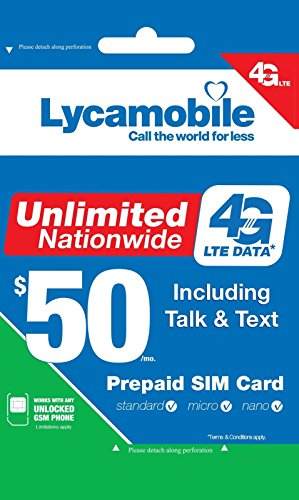 Lycamobile USA Sim Card Include $50 Monthly Plan With Unlimited Data Plus Free International Calls To 50 Countries by Lycamobile