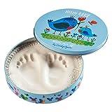 Baby Art Limited Edition Carolyn Gavin Magic Box Baby Hand/Footprint Casting Tin - Includes 2 Animal Door Jammers - Hello Baby Birds