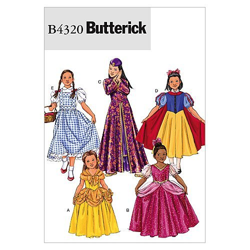 Berwick B4320 Girl's Princess Dress Halloween Costume Sewing Patterns, Sizes 7-14 -