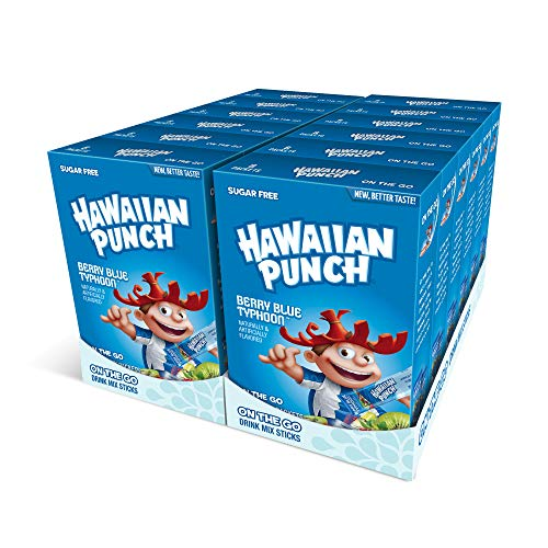 Hawaiian Punch, Berry Blue Typhoon- Powder Drink Mix - (12 boxes, 96 sticks) - Sugar Free & Delicious, Excellent source of Vitamin C, Makes 96 flavored water beverages
