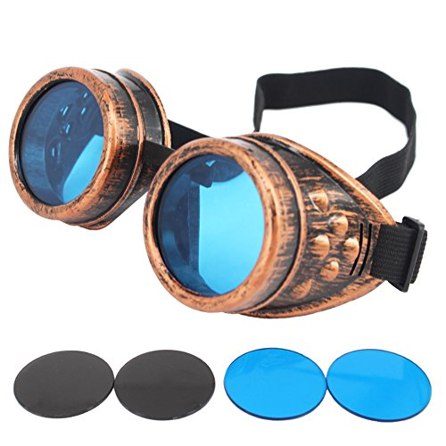 HAMIST Steampunk Goggles Vintage Glasses Cospaly Decoration Punk Style Welding Cyber With DIY Lenses (Victorian Face Masks)