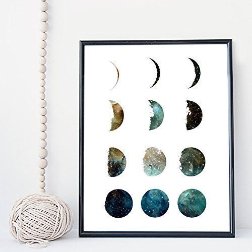 Moon phase galaxy wall art print, poster - unframed