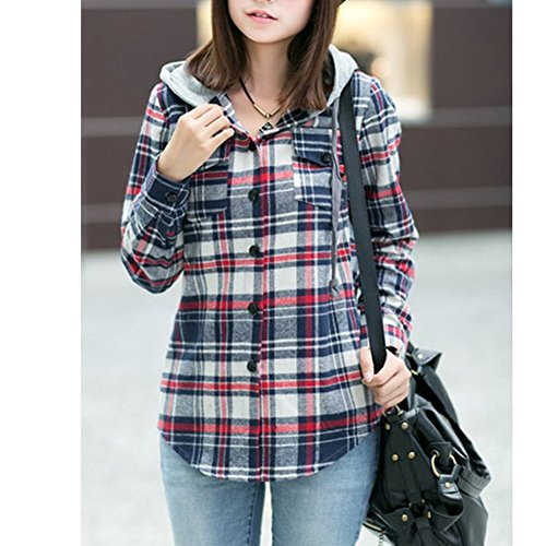 AsherFashion Women Classic Long Sleeves Cotton Hoodie Button-up Plaid Shirts - stylishcombatboots.com