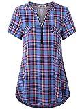 Finice Women's Zip V Neck Short Sleeve Casual Plaid Shirt Blue L