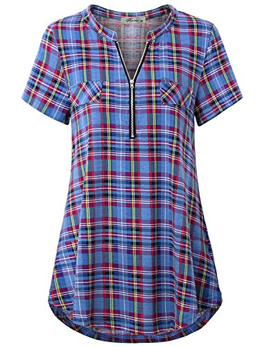 (Finice Women's Zip V Neck Short Sleeve Casual Plaid Shirt Blue S)