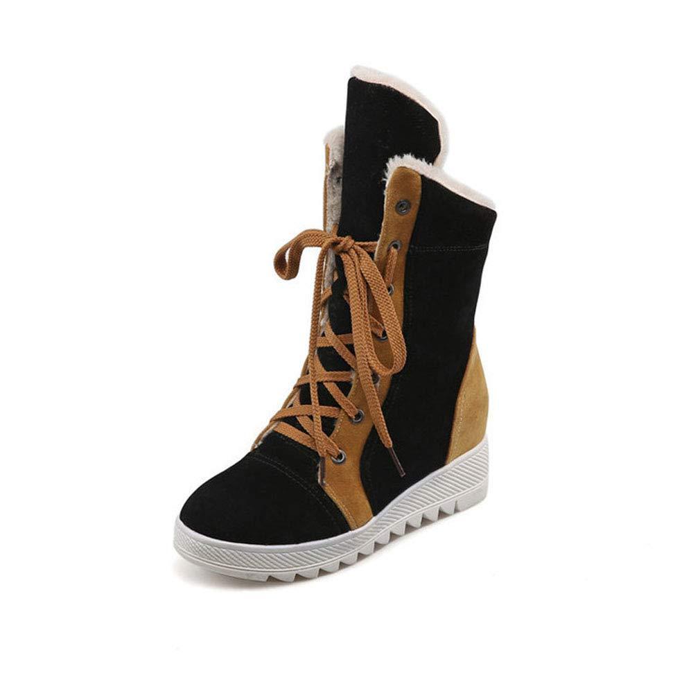 Hy Damen Freizeitschuhe Winter Wildleder Lace-up Snow Stiefel Stiefel Damen Flat Large Größe Stiefelies/Stiefeletten Winter Stiefel (Farbe : Schwarz, Größe : 34)