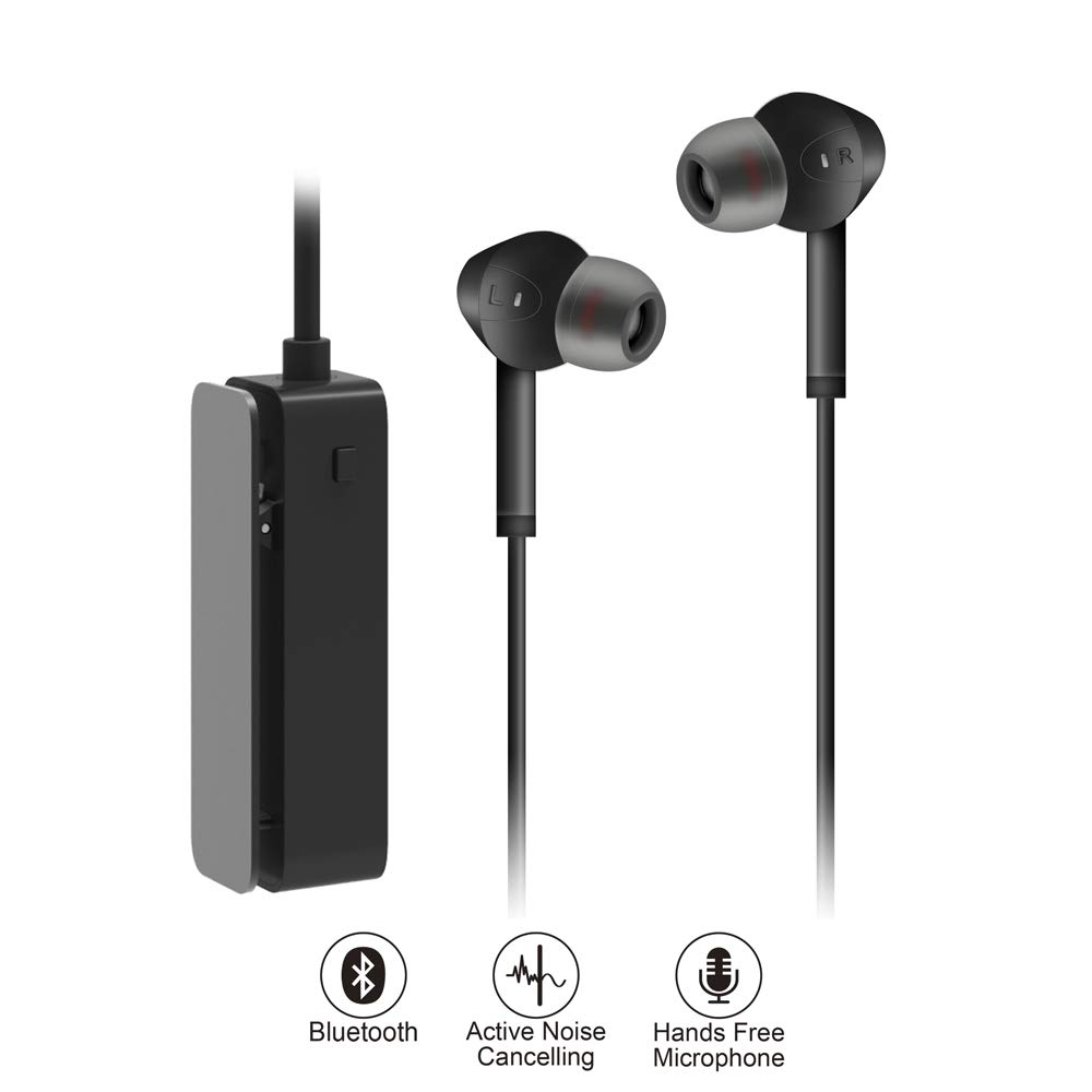 AKSONIC Active Noise Cancelling Earbuds Bluetooth Monitoring Earphones, Built-in Microphone with Clamp for Travel Work TV PC Smartphone Sports Flights Gaming, Volume Adjustable, Black