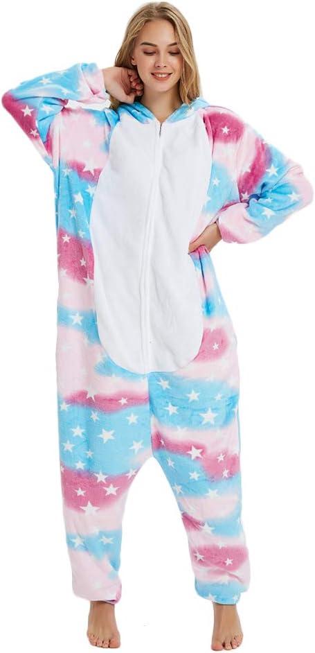 Kika Monkey Pijama disfraz de unicornio para adultos de franela, tipo mono diseño de estrellas XL