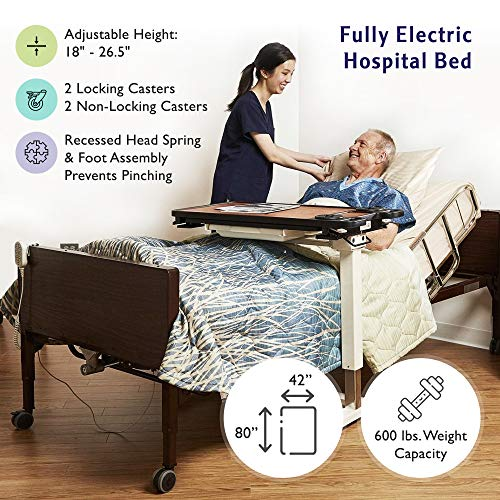 "Full Electric Bariatric Hospital Bed with Foam Mattress and T-Rails Included - Extra Wide, Heavy Duty - 80"" x 42"", 600 lb Weight Capacity - for Home Care and Medical Facilities"