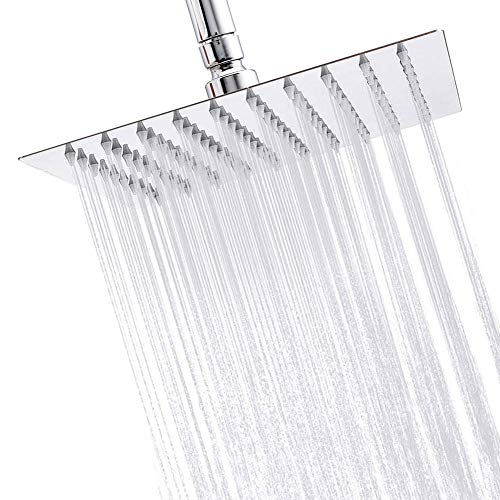 Litcher Rainfall Shower Head, High Pressure Polished Chrome 304 Stainless Steel, Waterfall Effect, Ultra Thin 8