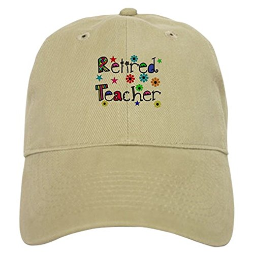 CafePress - retired teacher stars flowers Baseball Cap - Baseball Cap with Adjustable Closure, Unique Printed Baseball Hat
