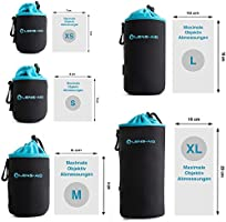 suitable for Canon S, M, L Lens-Aid Neoprene Camera Pouch with Fleece Lining: Set of Bags Flashes Lenses Protective Case for Camera Monitors and Photo Accessories Nikon Fuji etc. Pentax