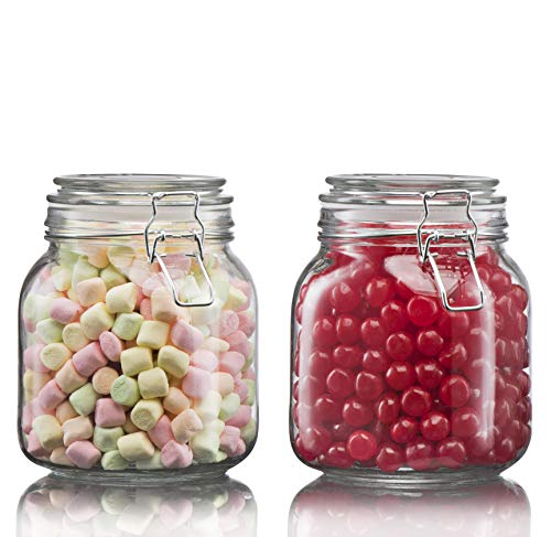 (Klikel Square Glass Kitchen Storage Canister Jars - Crystal Clear Food Storage Jars with Clear Lid and Bail & Trigger Hermetic Seal - 25oz, (Set of 2))