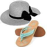 Aerusi Women's Miss Anderson Floppy Straw Sun Hat and Foam Sandals Bundle Set Flip-Flop, Grey, USA Women's Shoe Size 8 Regular US