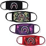 4 Pcak Shark Face Mask Bape Cotton Fashion Anti-dust Half Face Mouth Masks