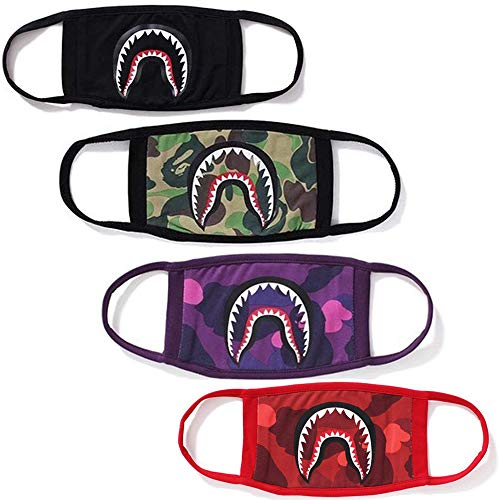 4 Pcak Shark Face Mask Bape Cotton Fashion Anti-dust Half Face Mouth Masks]()