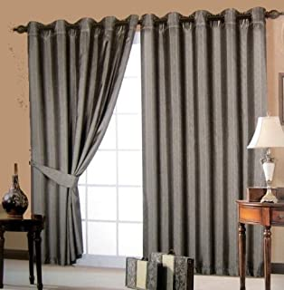 Black Curtains Eyelet - Embroidered Faux Silk Waves - 66'' x 90 ...