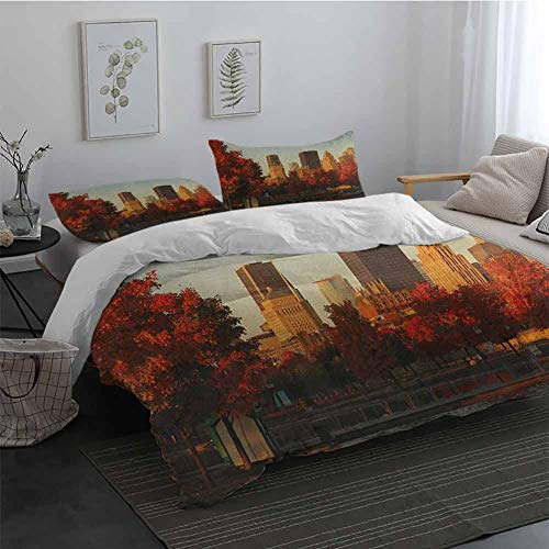 Duvet Cover Set with Zipper City Old Port of Montreal Early in The Morning Scenic Autumn Trees Buildings Canada Extra Soft Deep Pockets Red Orange Brown Long Twin (Cover Canada Duvet Sets)