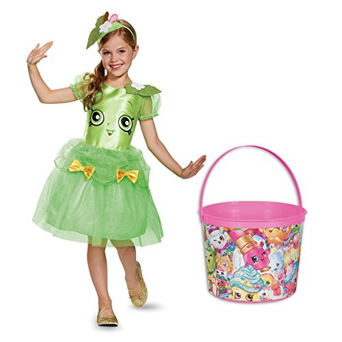 Shopkins Apple Blossom Deluxe Child Costume and Candy Pail Bundle - (Halloween Costumes Candy Apple)