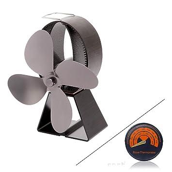 ZPL Ventilador de la Estufa de leña Ventilador de la Chimenea de 4 aspas, Calentador