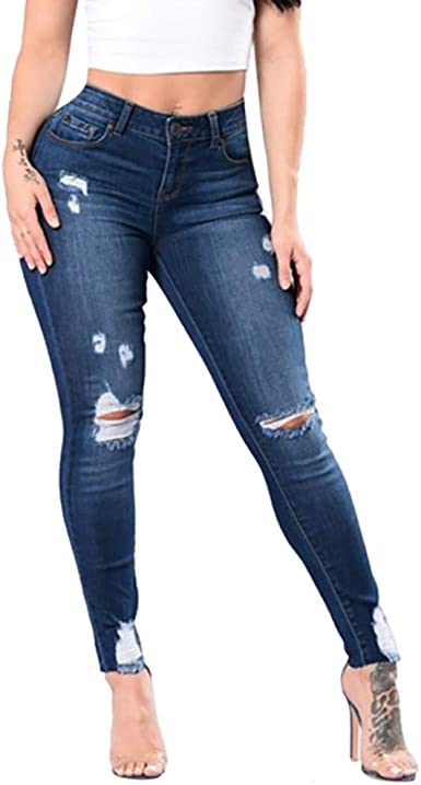 CRYYU Women High Rise Slim Distressed Stretch Denim Jeans Pants