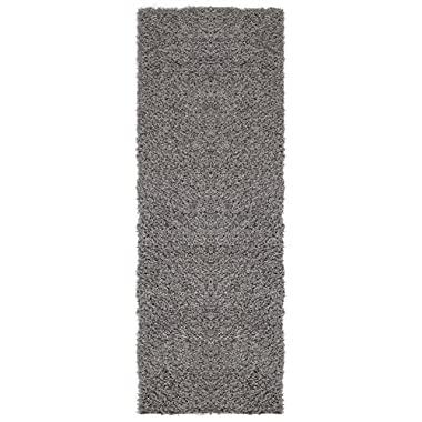 Ottomanson Soft Cozy Grey Solid Design 2'7  X 8'0  Shag Runner Rugs Contemporary Hallway & Kitchen