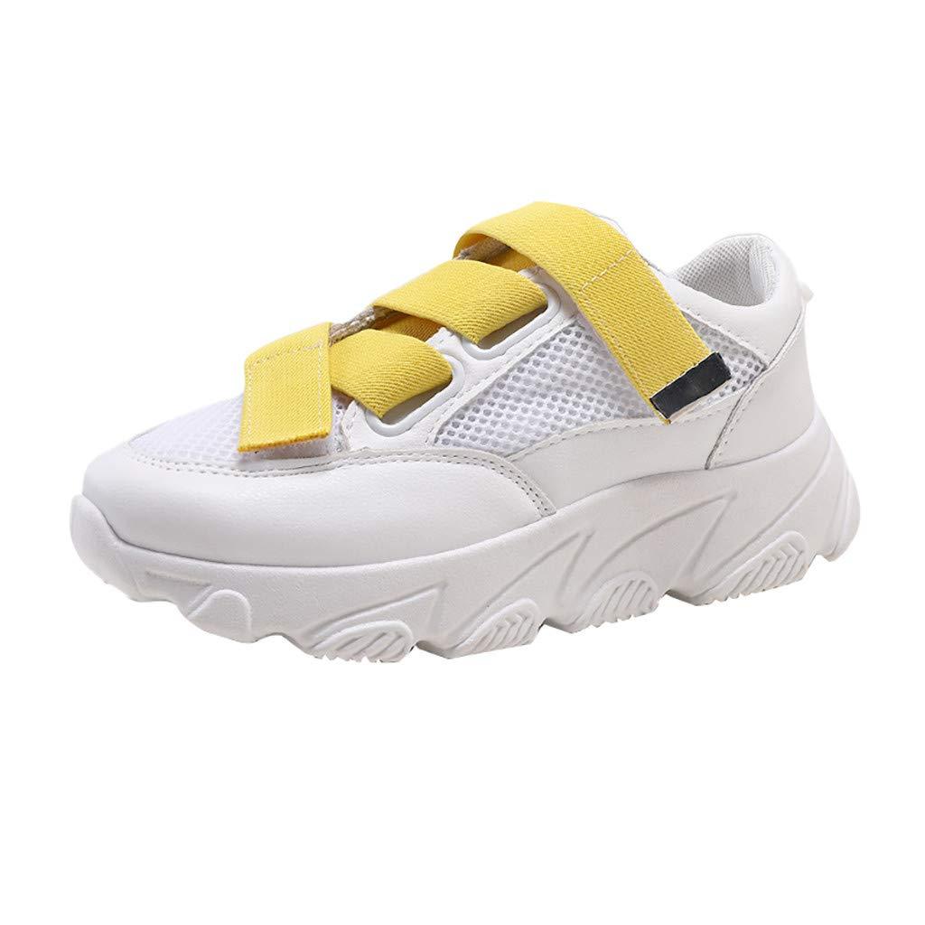 Women Walking Shoes Mesh Lightweight Casual Sports Slip on Gym Jogging Tennis Running Sneakers (US:8, Yellow)