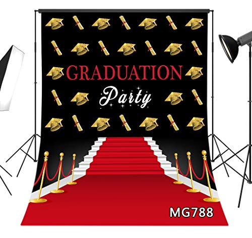 LB Graduation Backdrop for Photography 6x9ft Congrats Grad Party Graduation Cap Design Photo Background Red Carpet Backdrop Vinyl Customized Studio Props MG788