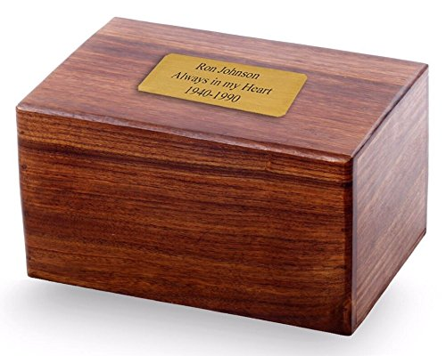 Solid Rosewood Plain Handmade Wood Urn with Custom Engraved 2x4 Brass Plate - Large, Cremation Urn, Wooden Urn
