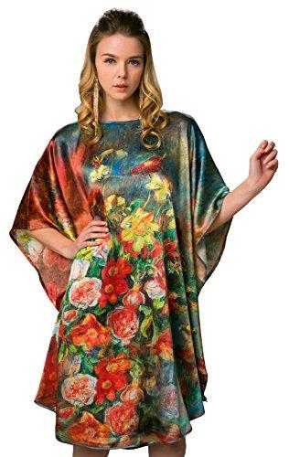 - 100% Pure Silk Nightgowns Batwing Sleeved Classic Sleepwear