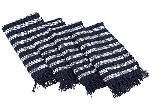 Placemats on SALE - HANDMADE 100% Pure Cotton Set of 4 Placemats Place mats for Dining Table /, Machine Washable, Everyday Place Mat for Indoor / Outdoor Dinner (Navy Stripe Favor Cards)