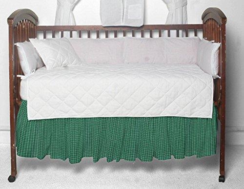 (Patch Magic Green and White Plaid Fabric Dust Ruffle Crib)