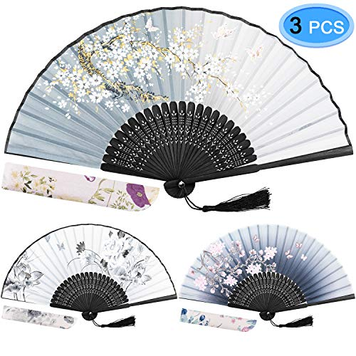 EAONE 3 Pcs Hand Folding Fan, Chinese Vintage Style Handheld Fan with Fabric Sleeve, Silk Fan with Bamboo Frame and Elegant Tassel for Party Wedding Dancing Decoration