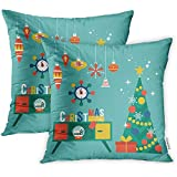 Emvency 2 Pcs Decorative Throw Pillow Case Cushion Cover Flat Modern Creative Christmas Design with Tree and Mid Century Furniture Xmas 16x16 Inch Cases Square Pillowcases Covers Two Sides Print