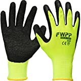 FWPP High Visibility Latex Coated Work Gloves,Soft Handiness Wearproof Skid Resistance Comfortable Wrinkle Safety Protective Glove,Pack of 120Pairs Large, Fluorescence Yellow