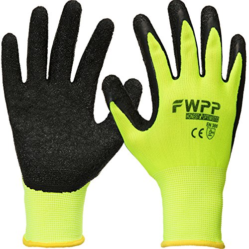 FWPP High Visibility Latex Coated Work Gloves,Soft Handiness Wearproof Skid Resistance Comfortable Wrinkle Safety Protective Glove,Pack of 120Pairs Large, Fluorescence Yellow by FWPP