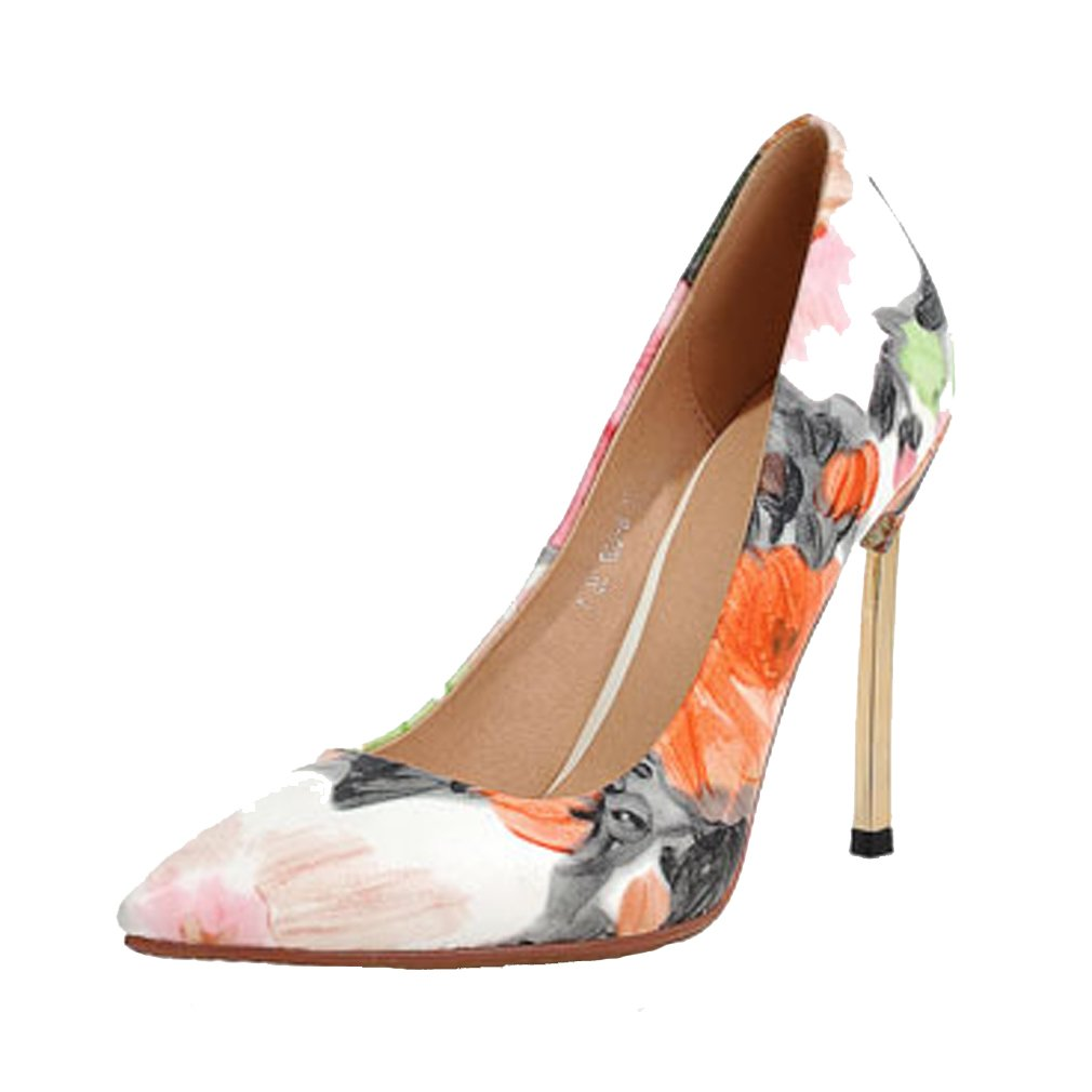 ENMAYER Womens Party Work Place Vintage Flowers Printing Patent Leather Pumps