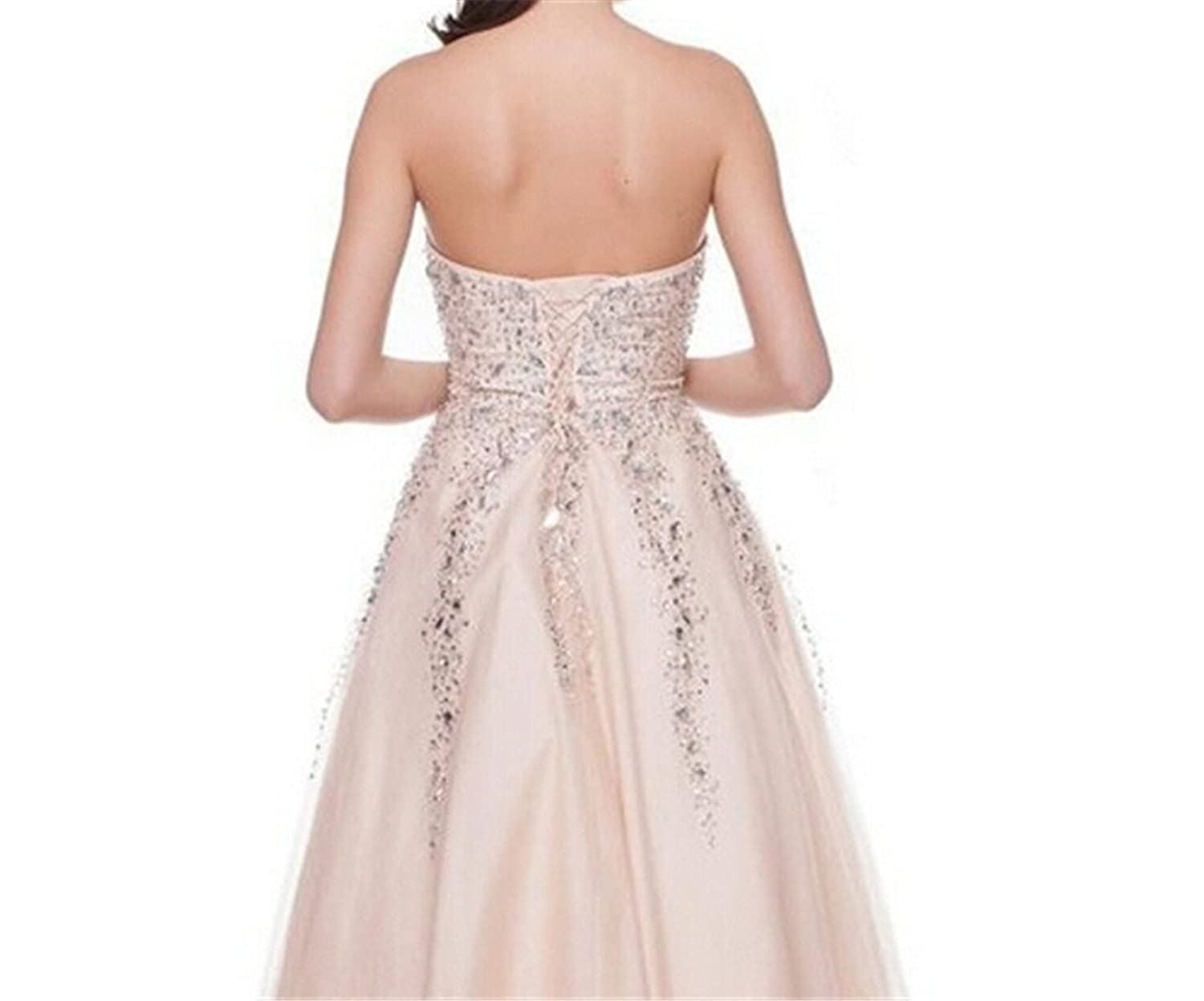 AngelDragon Elegant Strapless Beaded Quinceanera Prom Dress Ball Gowns