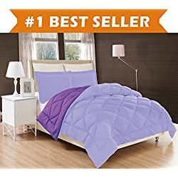 Elegant Comfort All Season Comforter and Year Round Medium Weight Super Soft Down Alternative Reversible 3-Piece Comforter Set, Full/Queen, Lavender/Purple