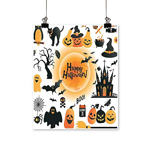 Single Painting All Hallows Day Objects Haunted Owl Trick or Treat C y Orange B Office Decorations,16