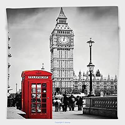 Vipsung Microfiber Ultra Soft Hand Towel-London Decor By Historical Old Tower Bridge In London British Skyline Ancient Cultural Monuments View Decor Grey Red For Hotel Spa Beach Pool Bath