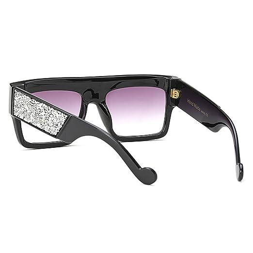 MEIHAOWEI Square Lunettes de soleil Luxury Diamond Flat Lunettes de soleil Vintage Goggle Color 2 4FKm2f