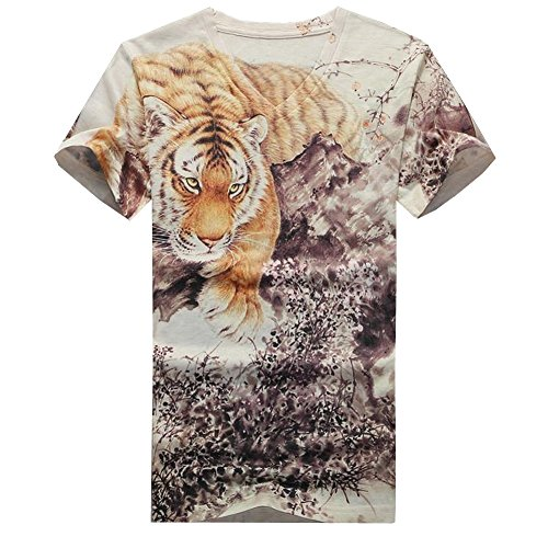 Easy Men's Fashion Sport Tiger Pattern V Neck Short Sleeve T-Shirts 3XL Beige