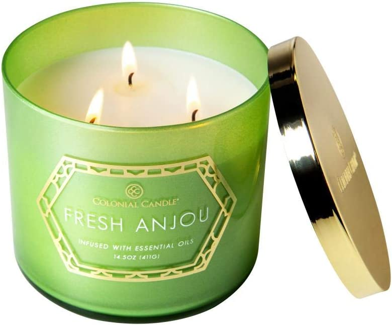 Colonial Candle Luxe Collection Fresh Anjou — Scented Glass Jar Candle 14.5 OZ