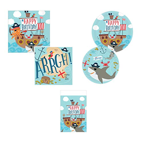 (Amscan Ahoy Pirate Shark Birthday Party Bundle, 36 Guests)