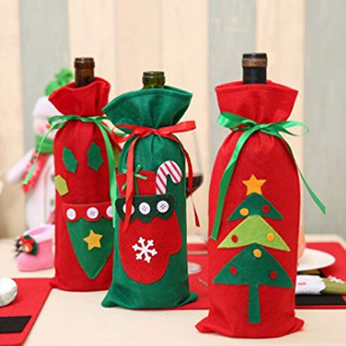 MoGist Wine Bottle Covers Christmas Wine Bottle Gift Bag Holder Santa Claus Christmas Table Dinner Decoration Home Party Decors (#A) by MoGist (Image #4)