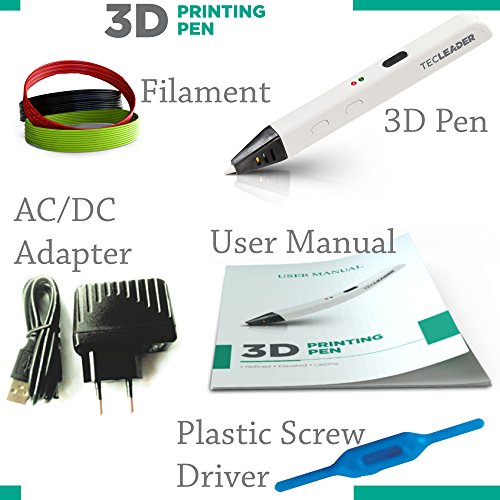 TECLEADER | 3D Printing Pen for Kids & Adults | Perfect Educational Toy for 3D Modeling, Printing and Doodling | Free Stencil EBook, 3 ABS Filaments & User Manual | Best Birthday Gift | Slim Design by TECLEADER (Image #3)