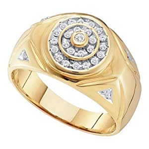 0.25ctw Mens Round Cluster Diamond Ring Wedding Band